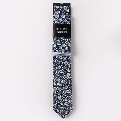 Fulled Flowers Pattern Tie and Handkerchief For Men