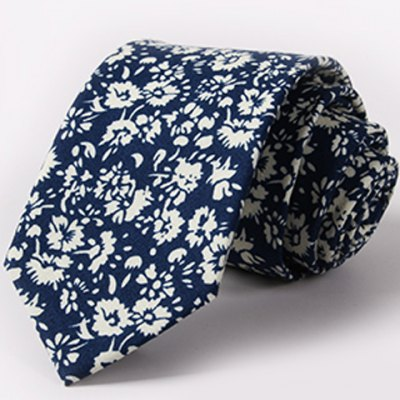 One Set Stylish Fulled Flowers Pattern Tie and Handkerchief For Men
