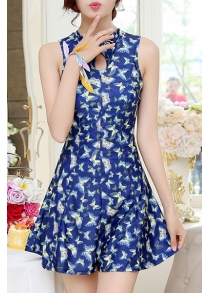 Women's Chic Floral Printed Keyhole Collar One Piece Swimwear