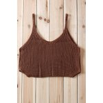 Sexy V-Neck Solid Color Knitted Crop Top For Women photo