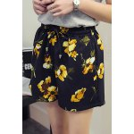 cheap Plus Size High Waisted Floral Print  Culotte Shorts