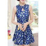 cheap Women's Chic Floral Printed Keyhole Collar One Piece Swimwear