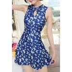 Women's Chic Floral Printed Keyhole Collar One Piece Swimwear deal