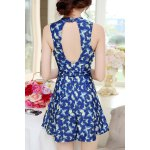 Women's Chic Floral Printed Keyhole Collar One Piece Swimwear for sale