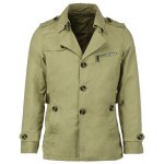 Turn-Down Collar Epaulet Single Breasted Long Sleeve Men's Trench Coat