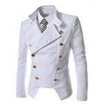 cheap Novel Style Stand Collar Double-Breasted Slimming Solid Color Long Sleeves Men's Blazer