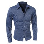 Vogue Shirt Collar Vertical Stripe Slimming Long Sleeve Polyester Casual Shirt For Men