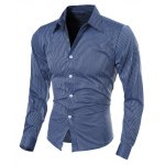 cheap Vogue Shirt Collar Vertical Stripe Slimming Long Sleeve Polyester Casual Shirt For Men