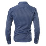 Vogue Shirt Collar Vertical Stripe Slimming Long Sleeve Polyester Casual Shirt For Men deal