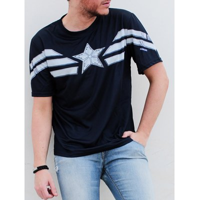 Fashion Round Neck Slimming Color Block Captain America Design Short Sleeve Polyester T-Shirt For Men