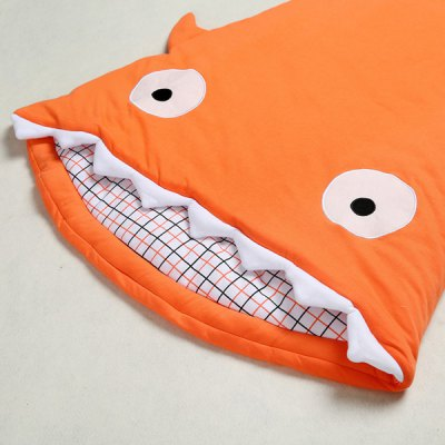 Chic Checked Pattern Shark Shape Quilt Blanket Sleeping Bag For Baby