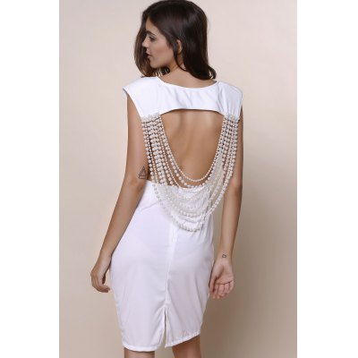 Round Neck Sleeveless Solid Color Open Back Dress