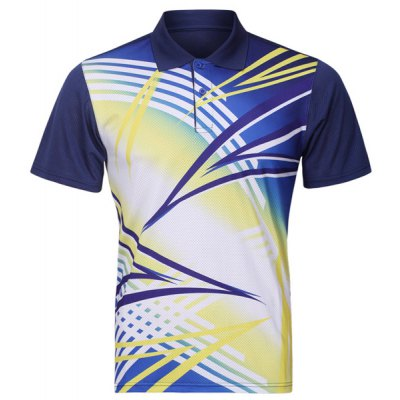 Turn Down Collar Men's Quick Dry Badminton Training T-Shirt