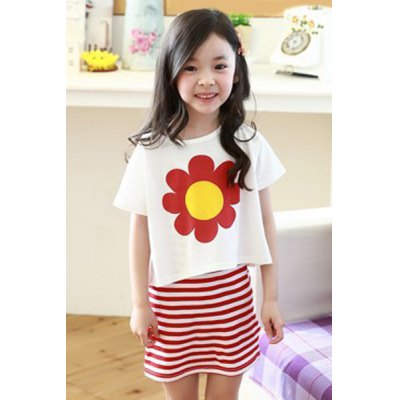 Girl's Short Sleeve Sunflower Print T-Shirt + Spaghetti Strap Striped Dress Twinset