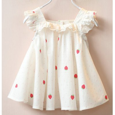 Cute Girl's Square Neck Short Sleeve Strawberry Print Polka Dot Dress