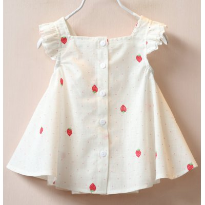cute-girl-square-neck-short-sleeve-strawberry-print-polka-dot-dress