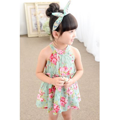 Girl's Round Neck Floral Print Dress