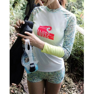 Stylish High-Neck Long Sleeves Printed Women's Swimsuit