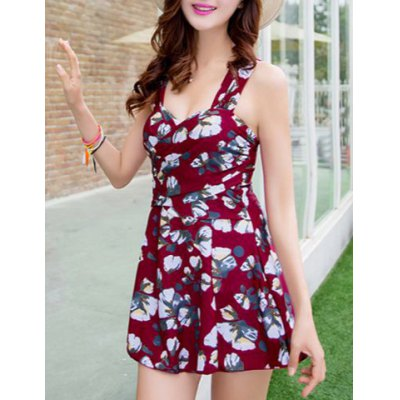 Sleeveless Floral Print Flounce Bodycon One-Piece Swimsuit
