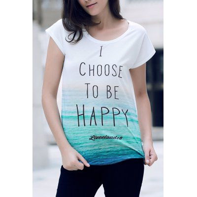 Stylish Round Neck Short Sleeve Letter Print Loose T-Shirt For Women