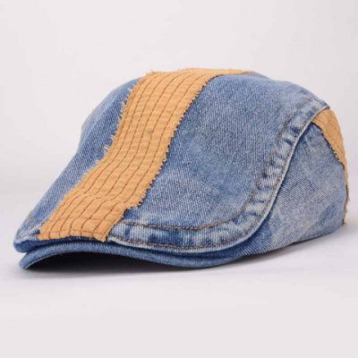 Trendy Adjustable Color Block Denim Cabbie Hat For Women