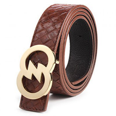 Hollow Out Golden Buckle Weaving Embossing Wide Belt For Men