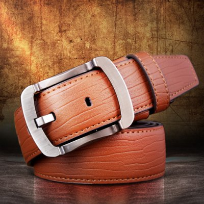 Alloy Pin Buckle Solid Color Wide Belt For Men