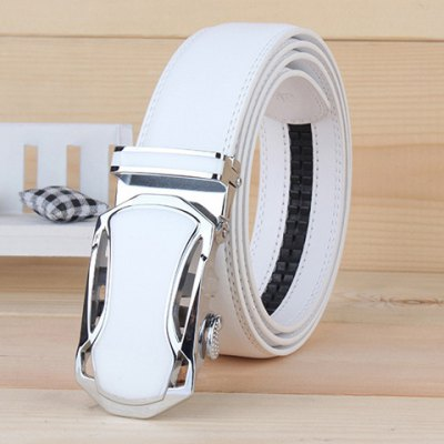 Hollow Out Car Shape Alloy Buckle White Wide Belt For Men