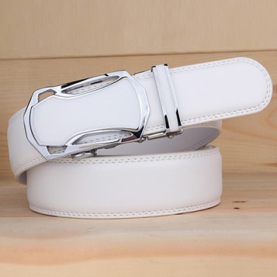 Stylish Hollow Out Car Shape Alloy Buckle White Wide Belt For Men
