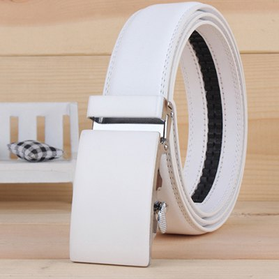 Smooth Alloy Rectangle Buckle Wide Belt For Men