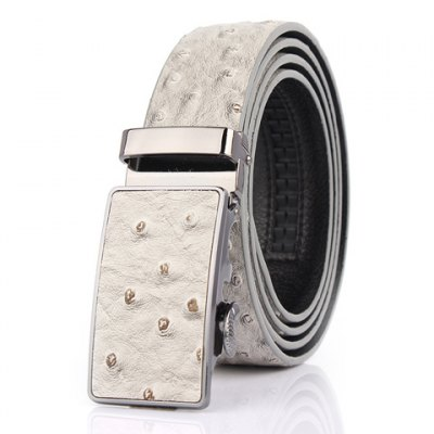 Ostrich Skin Embossing Faux Leather Wide Belt For Men