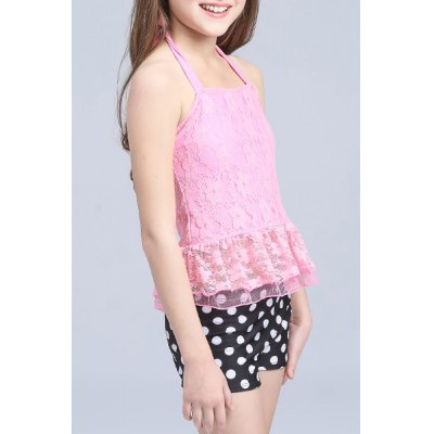 Sweet Halter Lace Spliced Flounced Top + Polka Dot Boxers Girl's Two-Piece Swimsuit