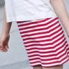 best Cute Girl's Short Sleeve Sunflower Print T-Shirt + Spaghetti Strap Striped Dress Twinset