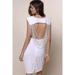 Sexy Round Neck Sleeveless Solid Color Open Back Women's Dress