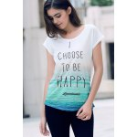 Stylish Round Neck Short Sleeve Letter Print Loose T-Shirt For Women photo