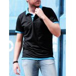 Short Sleeve Double Layered Turn Down Collar Slimming Men's Polo Shirt