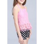 cheap Sweet Halter Lace Spliced Flounced Top + Polka Dot Boxers Girl's Two-Piece Swimsuit