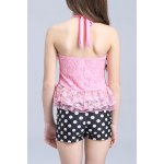 Sweet Halter Lace Spliced Flounced Top + Polka Dot Boxers Girl's Two-Piece Swimsuit deal