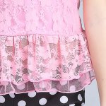 best Sweet Halter Lace Spliced Flounced Top + Polka Dot Boxers Girl's Two-Piece Swimsuit