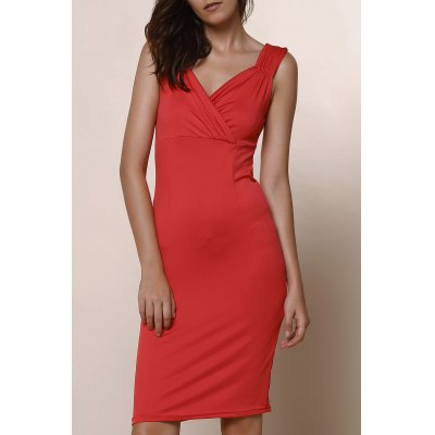 Plunging Neckline Solid Colour Sleeveless Dress For Women