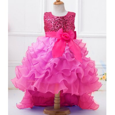 Round Neck Sequin Embellish High Low Girl's Multilayered Dress