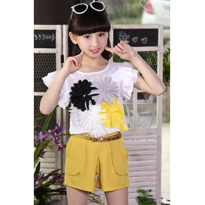 Stylish Short Sleeve Floral T-Shirt + Shorts Girl's Twinset