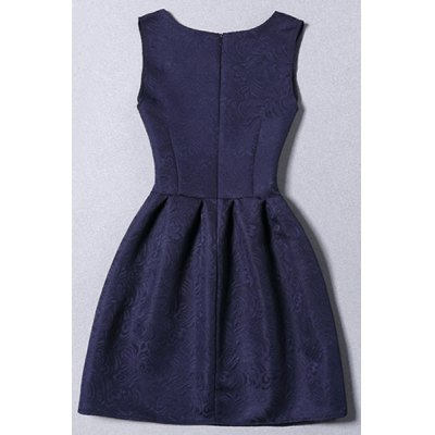 Chic Round Collar Sleeveless Floral Print Solid Color Women's Dress