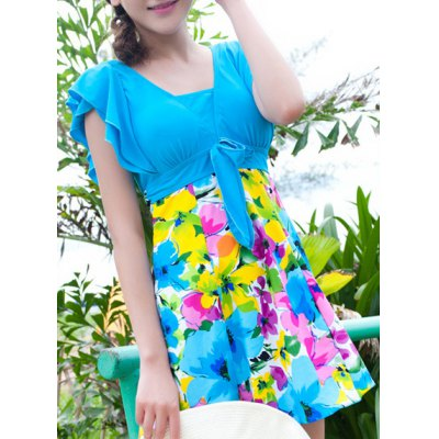 Short Sleeves Flouncing Floral Pattern Bowknot Swimsuit