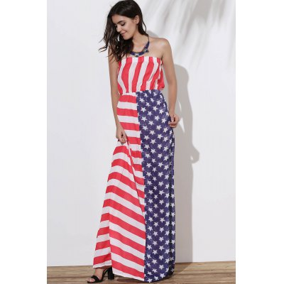 Strapless American Flag Pattern Long Patriotic Dress