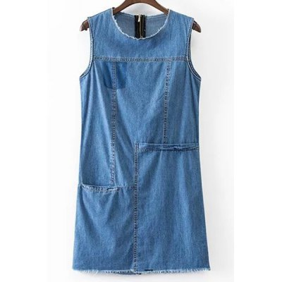 Stylish Round Neck Sleeveless Solid Color Pocket Denim Women's Dress