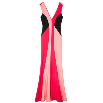 Double-V Color Block Maxi Mermaid Dress