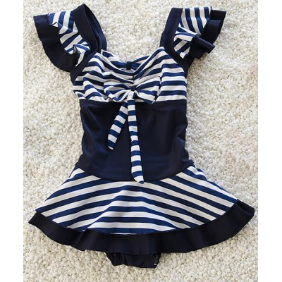 Cute Striped Bowknot Embellished One-Piece Swimwear