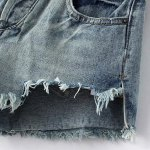 Chic High Waist Fringed Ripped Denim Shorts For Women for sale