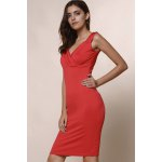 best Trendy Plunging Neckline Solid Colour Sleeveless Dress For Women